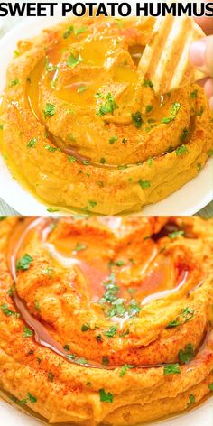 This Sweet Potato Hummus makes a perfect healthy snack that's packed with flavor. You'll be surprised how delicious it is! Healthy Dinner Recipes, Mexican Food Recipes, Appetizer Recipes, Healthy Snacks, Vegetarian Recipes, Healthy Eating, Cooking Recipes, Vegetable Recipes, Appetizers