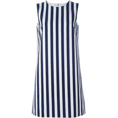 Dolce & Gabbana striped shift dress (6.515 NOK) ❤ liked on Polyvore featuring dresses, blue, stripe dress, dolce gabbana dresses, striped dress, round neck sleeveless dress and blue stripe dress