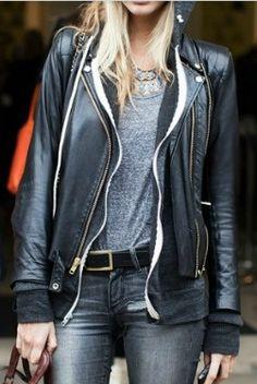 Grey tee + black leather.