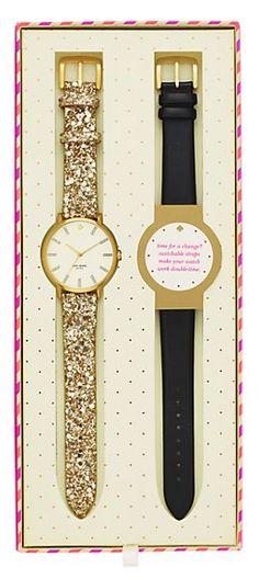 gold glitter // black leather watch. {kate spade}.
