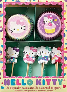 Meri Meri Hello Kitty Cupcake Kit - 24 cupcake cases, 24 toppers, 4 designs for sale online Kitty Party, Hello Kitty Theme Party, Hello Kitty Cupcakes, Hello Kitty Themes, Cupcakes Chat, Chat Hello Kitty, Cupcake Cases, Cupcake Picks, Cupcake Liners