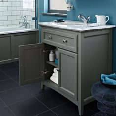 Savoy Charcoal Grey 790 Basin Unit - With Marble Top And Basin   bathstore