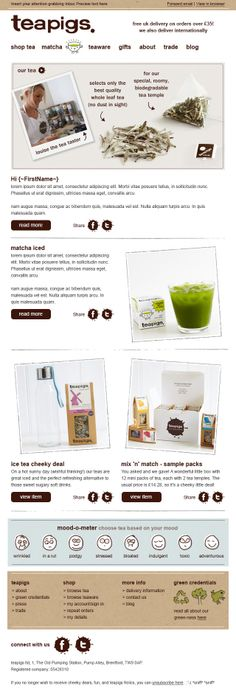 Responsive email template designed and built for Teapigs - Desktop view.  Visit Pure360.com for more information.