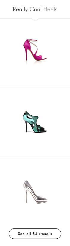 """Really Cool Heels"" by londonnewyorkparis ❤ liked on Polyvore featuring shoes, sandals, heels, pink, pumps, jimmy choo, diego dolcini shoes, diego dolcini, summer footwear and glamorous shoes"