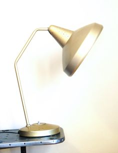 A vintage lamp casts a golden glow even when it isn't on.