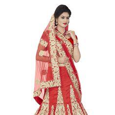 #Red Art Silk #LehengaCholi with Dupatta