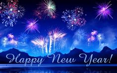 Happy New Year hd Images crackers blue back ground