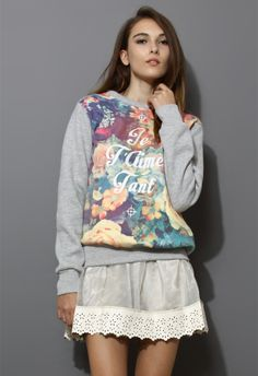 Retro Floral Print Sweater in Grey