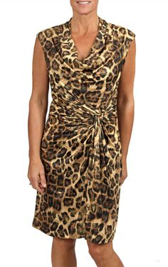 This dress is a classic day to night look. Wear it to work with a jacket and jazz it up for a night out on the town! The faux wrap look flatters a variety of body types. Animal Print Dresses, Night Looks, Cowl Neck, Cap Sleeves, Night Out, Wrap Dress, Autumn Fashion, Formal Dresses, Body Types