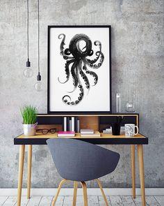 Octopus print Octopus aquarel inkt schilderij van colorZen op Etsy