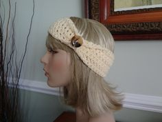 Ivory / Off White Crochet Flapper Style Headband With Button Detail Great for Skiing, snowboarding, skating by yarnnscents on Etsy