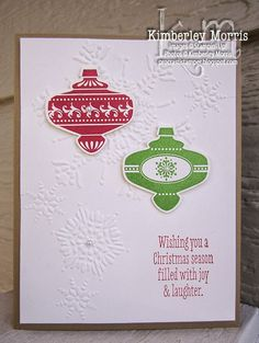 Christmas Card Club 1 (card 4 of 5): Ornament Wishes - Click through for supplies and instructions!