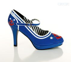 Rockabilly shoes | Sailor Navy Blue Anchor Mary Janes Heels Rockabilly Shoes