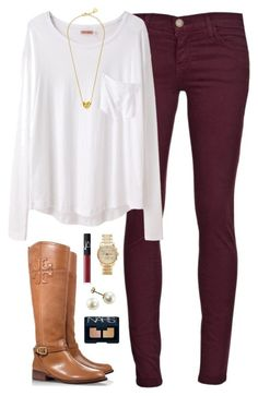 """""""simplicity"""" by classically-preppy ❤ liked on Polyvore featuring Current/Elliott, Organic by John Patrick, Tory Burch, NARS Cosmetics, Michael Kors and C. Wonder"""