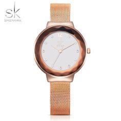 0477253df5a Shengke New Luxury Women Watches Rose Golden Watch Mesh Belt Dress Clock  Shell Dial Quartz Watch