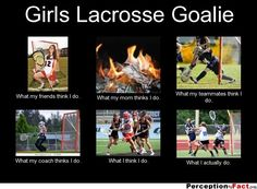 Girls Lacrosse Goalie... - What people think I do, what I really do - Perception Vs Fact
