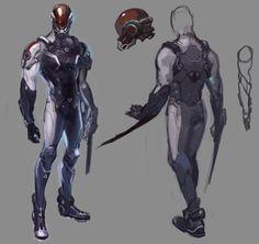 ArtStation - old project pc concept art, RD LYS Fantasy Character Design, Character Design Inspiration, Character Concept, Character Art, Robot Concept Art, Armor Concept, Weapon Concept Art, Arte Ninja, Arte Robot