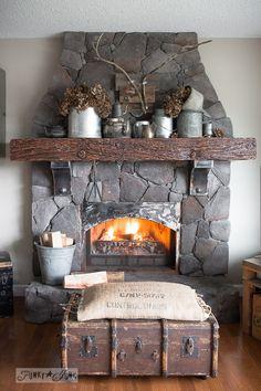Metal filled winter fireplace mantel / FunkyJunkInteriors.net