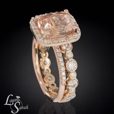 Morganite and Rose Gold Engagement Ring and Wedding Set with Bezel Set Diamond Eternity Wedding Band - LS3353 i looove mismatch sets