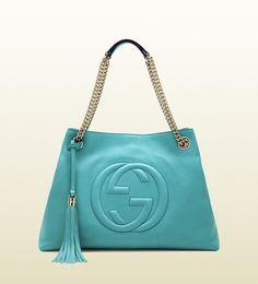 6ce00e6ef9503 Gucci Soho medium light blue leather tote with chain straps 308982