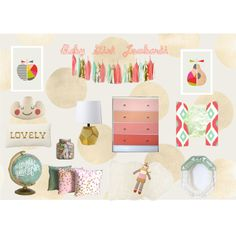 """""""Gold Coral Mint Nursery"""" by happyhomedesign on Polyvore updated with curtain panels:)"""