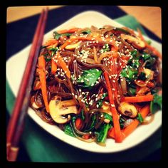 Japchae, glass noodles (source)