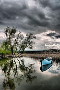 Blue boat, cloudy sky, water, lake, reflections, beauty of Nature, before the storm, trees, photo