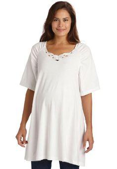 Fashion Bug Plus Size Top, T-Shirt For #Maternity In Cutwork Knit www.fashionbug.us #PlusSize #FashionBug