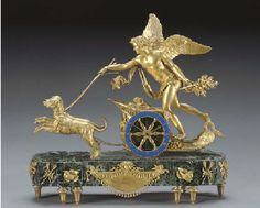 An Empire Style Ormolu and Verde Antico Marble Mantel Clock. Late 19Th Century