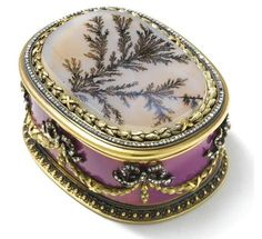 #Fabergé -- A Jewelled Gold, Enamel & Agate Box -- Circa 1895 -- Workmaster: Carl Blank (St. Petersburg)
