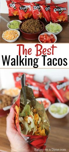 If you need a quick meal on the go, try walking tacos! Everything you love about tacos gets combined into a yummy bag of Doritos! A walking taco bar is a great way to feed a crowd or perfect for a party. You will love this quick and easy Mexican taco re Camping Party Foods, Camping Meals, Camping Cooking, Family Camping, Lunch Ideas For Camping, Easy Cooking, Cooking Recipes, Healthy Cooking, Cooking Dishes