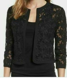 Our shrugs are the perfect technique to subtly include warmness to shirts and still looking elegant. Casual Skirt Outfits, Stylish Dresses, Classy Outfits, Frock Fashion, Blazer Fashion, Fashion Dresses, Kurta Designs Women, Blouse Designs, Lace Jacket
