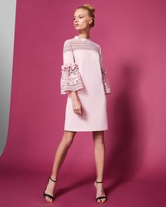 Gorgeous pink lace sleeve shift dress, perfecter a wedding