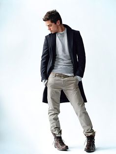"""""""dark blue long coat, light grey sweater, white tee, beige chino pants / men fashion""""  I'm likin the top half more than the bottom.  The whole """"I can't tie my shoes and don't know what a belt looks like"""" thing doesn't work for me."""
