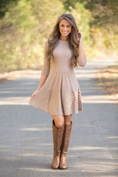 Sweater dress - 39 Trendy Coziest Sweater Dress Outfit Ideas for Women – Sweater dress Fall Dresses, Cute Dresses, Casual Dresses, Cute Sweater Dresses, Fall Dress Outfits, Summer Outfit, Summer Dresses, Work Dresses, Elegant Dresses