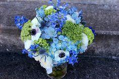 Blue Hydrangea, Blue Delphinium, Blue Grape Muscari Hyacinth, Blue Eryngium Thistle, Gray-Green Succulents, White Garden Roses, White Ranunculus, White Anemones, Green Queen Anne's Lace & Green Snowball Viburnum Wedding Bouquet >>>>