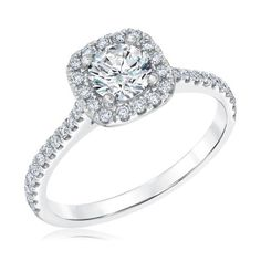 REEDS Signature Round Diamond Cushion Halo Engagement Ring 1ctw - Item 19673540   REEDS Jewelers
