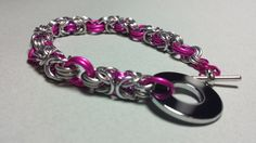 Silver and Pink Byzantine Bracelet with Chrome Toggle Clasp for sale on Etsy