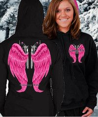 Country Life Outfitters Wings Guns Vintage Black & Pink Bright Girlie | SimplyCuteTees