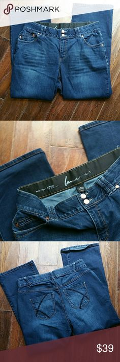 Lane Bryant Jeans 14 A nice pair of dark wash boot cit jeans with Tighter Tummy Technology and confortable wide elastic waistband. Waist 17.5 inseam 28 rise 1.5 in great condition Jeans Boot Cut