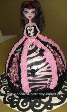 Homemade Monster High Doll Cake: The Monster High doll cake was for my niece who was turning 12. She loves Monster High! I started off with the Wilton Doll Cake Pan and figured it would