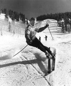 Norwegian alpine ski racer and Olympic gold medalist Stein Eriksen, circa 1950.