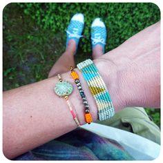 Cool macrame bracelets combo - perfect for summer. Green / greenery love ! Boho jewelry.  © Natacha Fayard