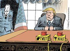 Bill ✔️  Political Cartoons of the Week: President Trump Takes Command.    Bill Gibson-Patmore.  (curation & caption: @BillGP). Bill✔️