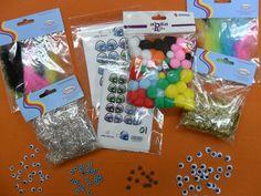 Accesorios y complementos para muñecos y fofuchas de goma eva: ojos, plumas, pelo, pompones, etc....