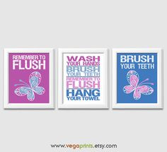 Purple and blue butterfly bathroom wall art print by VegaPrints