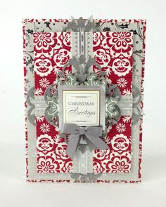 Handmade 3-dimensional Christmas card from the Anna Griffin Holiday Trimmings Card Making Kit. This kit makes 60 unique cards with beautiful foil stamped metallic details, stunning dimensional embellishments, paper bows, ribbons and more! http://www.hsn.com/products/anna-griffin-holiday-trimmings-cardmaking-kit/7170195