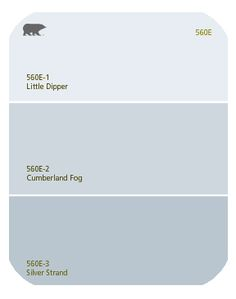BEHR Colors: Cumberland Fog, Little Dipper & Silver Strand. They are the three colors from the amazing ABC wall.