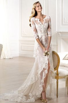 Cheap dress materials for sale, Buy Quality dress ball gown directly from China gown evening dress Suppliers: High Quality V-Neck Vintage Lace Wedding Dress Short Front Long Back Long Sleeve Tiered Bridal Dress Elegant Wedding Go