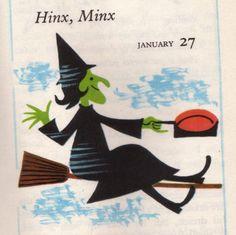 """Hinx, Minx"" from ""366 Good Night Stories,"" 1963."